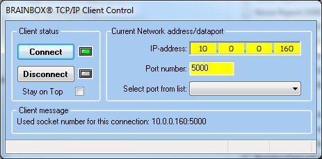 TCP-IP Connect screen